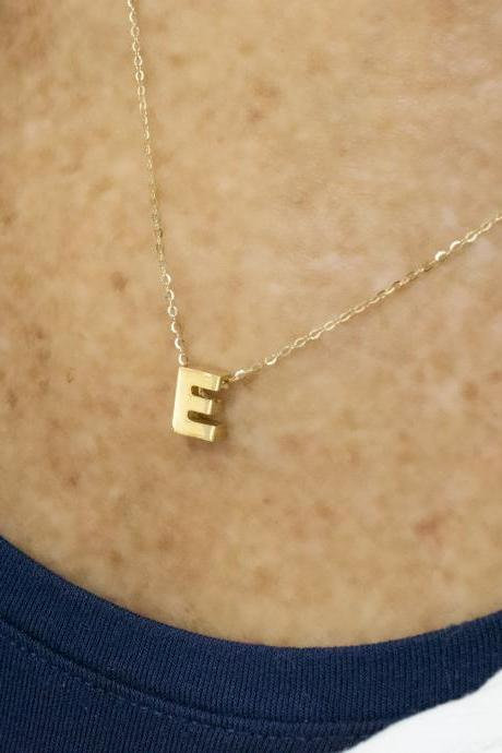 Solid 14k Gold Initial Necklace - Alphabet Necklace - Custom Jewelry